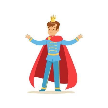 황금 왕관과 빨간색 망토, 동화 의상 파티 또는 휴가 벡터 일러스트 레이 션에 귀여운 소년 왕자