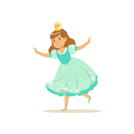 Beautifull little girl princess in a light blue ball dress and golden crown, fairytale costume for party or holiday vector Illustration