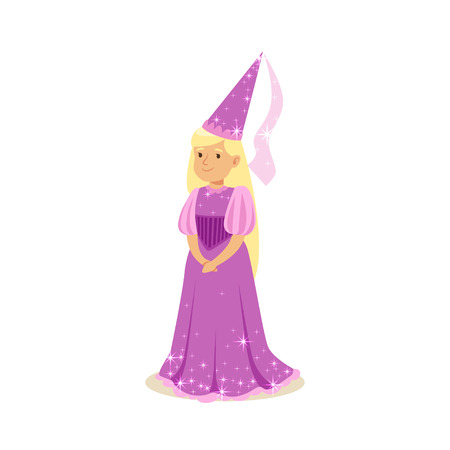 Beautifull blonde little girl princess in a purple ball dress and pointed hat, fairytale costume Illustration