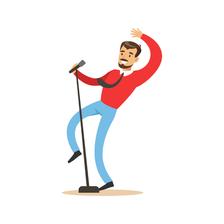Singer man performing a song vector Illustration 向量圖像