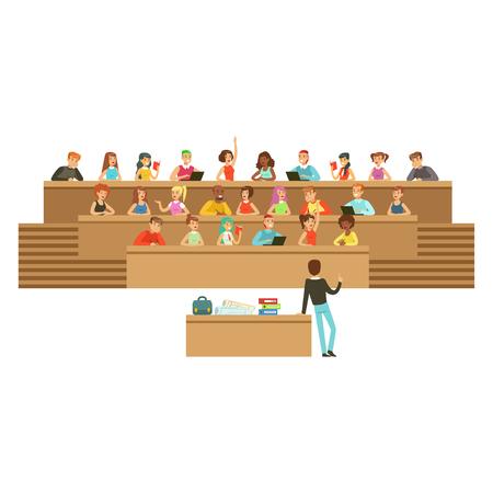 Étudiants écoutant dans une salle de conférence à l'université ou au collège, prenant des notes, posant des questions, vecteur de l'enseignement secondaire Illustration