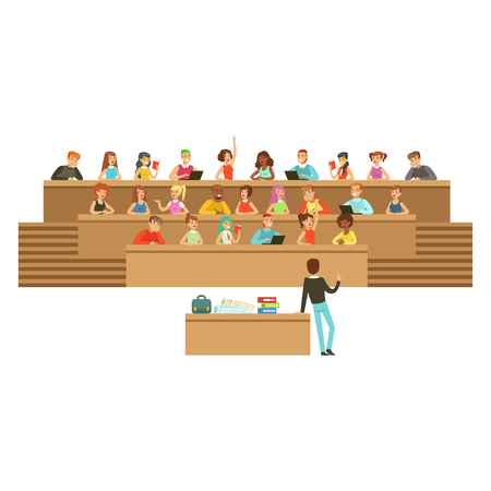 Studenti che ascoltano in una sala di conferenza in università o all'università, prendendo appunti, ponendo domande, illustrazione vettoriale di istruzione di liceo