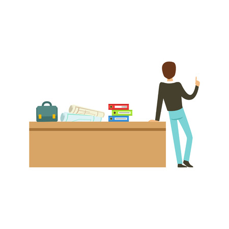Young university teacher talking to group of students, back view, high school education vector Illustration
