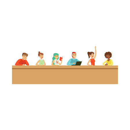 Students listening a lecturer in university or college, high school education vector Illustration