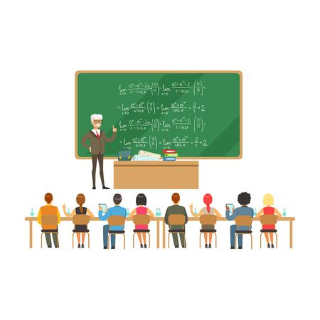 Professore vicino alla lavagna con le formule che parlano con gruppo di studenti durante la conferenza dell'università, illustrazione di vettore di istruzione della High School Archivio Fotografico - 83565349