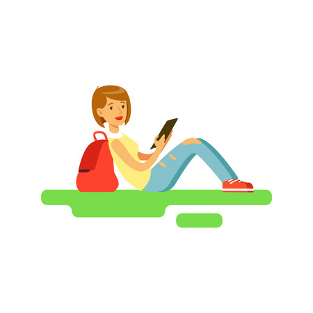 Young beautiful female student sitting on the grass using tablet vector Illustration Illustration