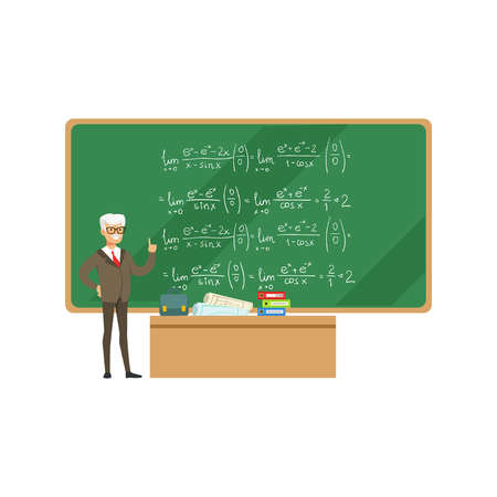 Professor near the blackboard with formulas talking during the university lecture, high school education vector Illustration