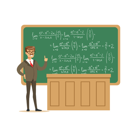 Young university teacher near the blackboard with formulas talking during at university lecture, high school education vector Illustration