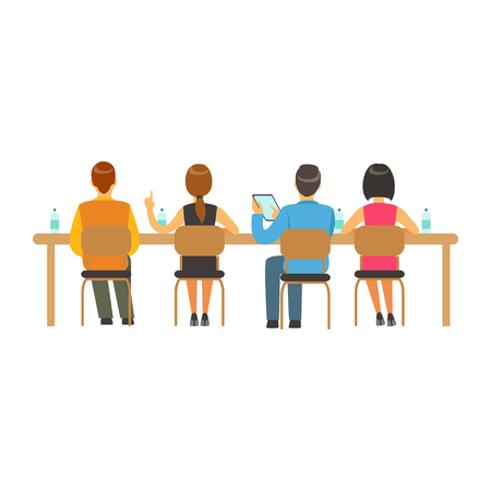 Students sitting at desks and listening at college or university auditorium, back view, high school education vector Illustration