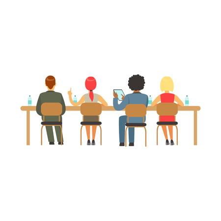 scholarship: Students sitting at desks at college or university auditorium, back view, high school education vector Illustration