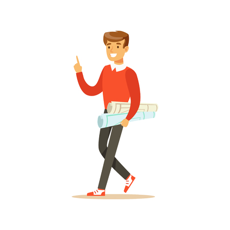 Young smiling male student walking with paper rolls vector Illustration