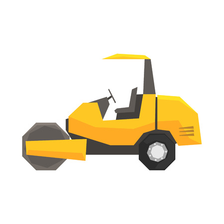 Big yellow road roller, heavy construction machine vector Illustration Ilustracja