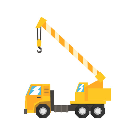 Yellow truck mounted hydraulic crane cartage, heavy industrial machinery vector Illustration