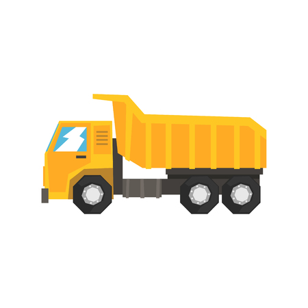 Yellow dump truck, heavy industrial machinery vector Illustration Ilustracja