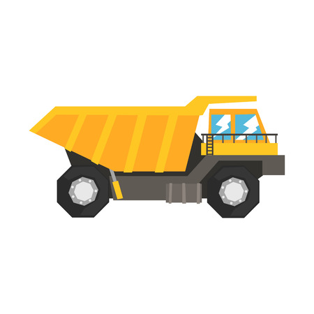 Big yellow dump truck, heavy industrial machinery vector Illustration Ilustracja