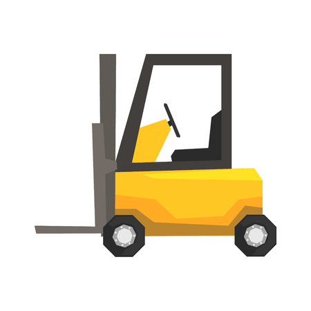 Yellow forklift truck, warehouse machinery vector Illustration