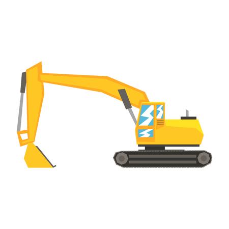 Yellow excavator, heavy industrial machinery, construction equipment vector Illustration
