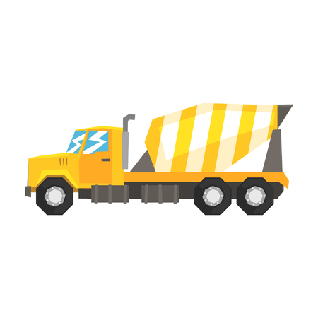 concreting: Yellow concrete mixer truck, heavy industrial machinery, construction equipment vector Illustration Illustration