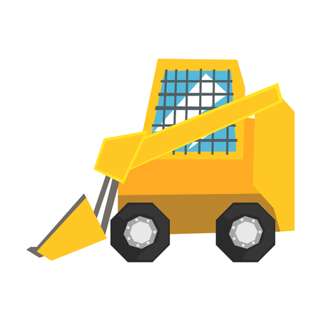 Mini bulldozer with protected windows, skid loader vector Illustration Illustration
