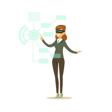 Businesswoman wearing VR headset working in digital simulation, future technology concept vector Illustration Illustration
