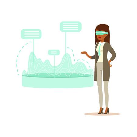 Femme d'affaires portant un casque VR travaillant dans la simulation numérique, analyse des résultats financiers, futur vecteur de concept de technologie Illustration Banque d'images - 83566051