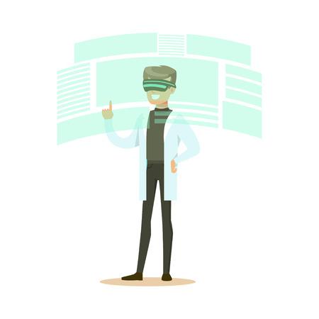 디지털 시뮬레이션, 미래 기술 개념 벡터 일러스트 레이 션에서 작업하는 VR 헤드셋을 착용하는 남성 과학자 일러스트