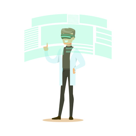 Male scientist wearing VR headset working in digital simulation, future technology concept vector Illustration Illusztráció
