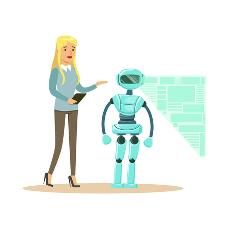 Young female engineer controlling visualization process of humanoid robot at her tablet, future technology concept vector Illustration