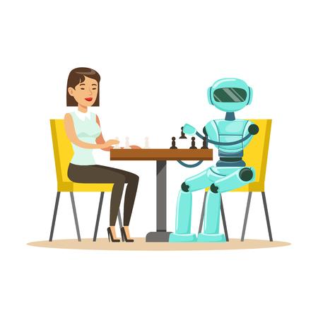 uomo d & # 39 ; affari e robot che giocano a scacchi illustrazione