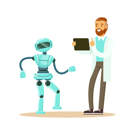 Young male engineer in white smock programming humanoid bipedal robot at his tablet, future technology concept vector Illustration