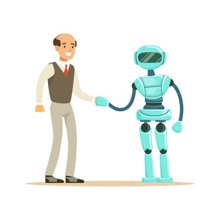 사업가와 손을 떨고 인간형 로봇입니다. 미래 기술 개념 벡터 일러스트 레이션 일러스트
