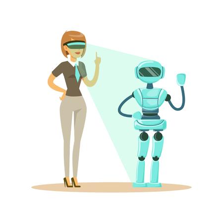 Empresaria que controla el robot humanoide con auriculares de realidad virtual, futuro concepto de tecnología vector ilustración Ilustración de vector
