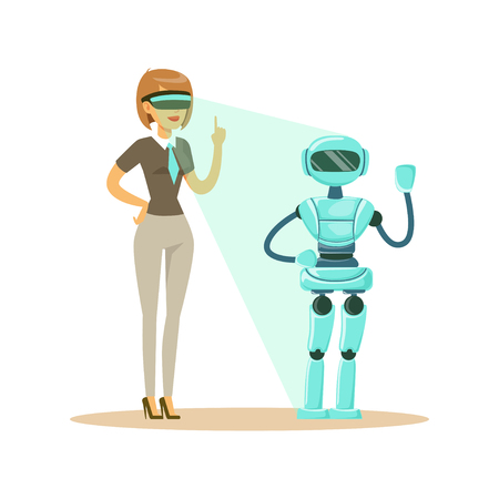 Businesswoman controlling humanoid robot with virtual reality headset, future technology concept vector Illustration