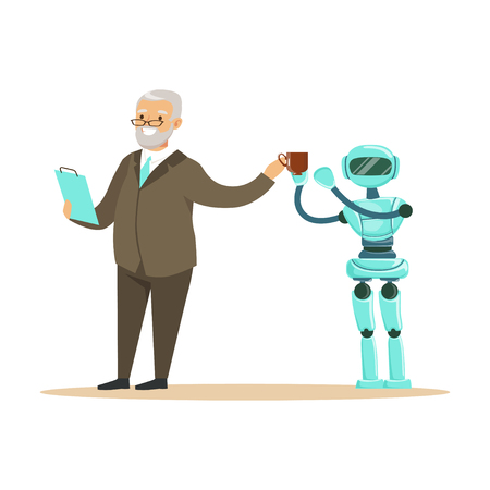 Humanoid robot bringing coffee for a smiling senior man, future technology concept vector Illustration Ilustrace