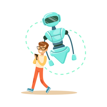 Boy controlling his robot with mobile phone, future technology concept vector Illustration Ilustrace