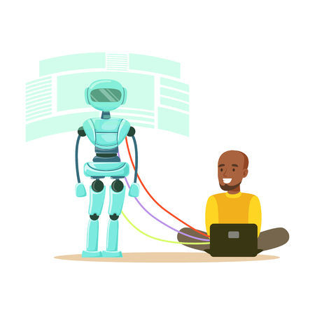 Young male engineer controlling visualization process of humanoid robot at his laptop, future technology concept vector Illustration