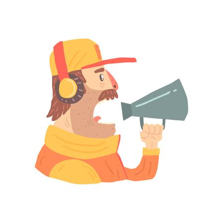 Pit stop technician worker in an orange uniform with loudspeaker.