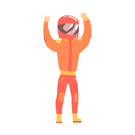 greet: Race car driver in an orange uniform and helmet