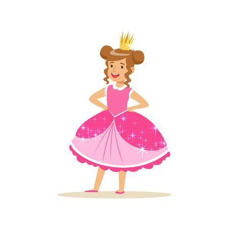 Beautiful little girl princess in a dark pink ball dress and golden tiara 向量圖像