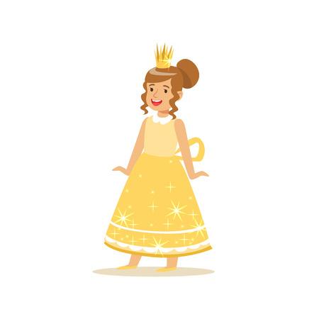 美しい少女プリンセス ゴールド ボール ドレスと黄金のティアラ
