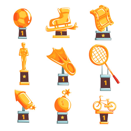Cartoon golden trophy cups, awards and achievements set