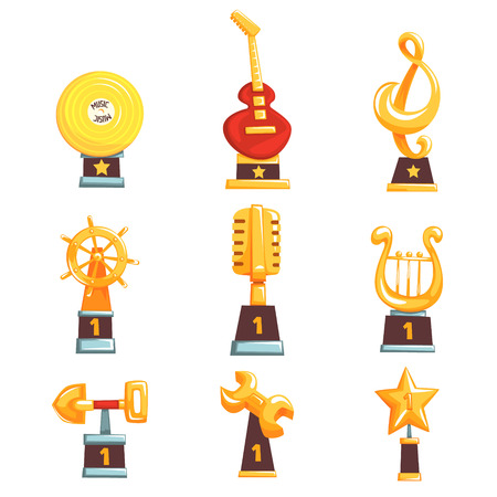 Golden trophy cups, awards and achievements set