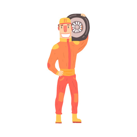 Pit stop technician worker in an orange uniform holding car wheel