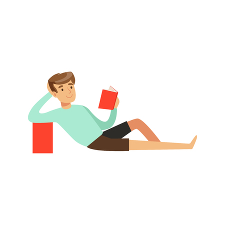 Young man sitting on the floor and reading a book vector Illustration