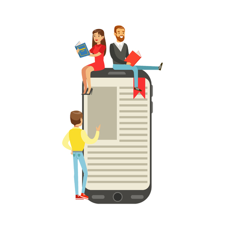 Micro young women and men sitting on a giant electronic book, people enjoy reading vector Illustration