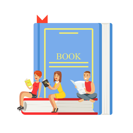 smart boy: Micro young women and man sitting on a giant book, people enjoy reading vector Illustration