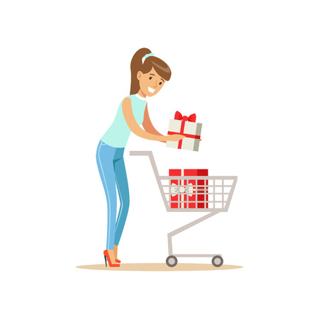 Happy woman in a casual clothes putting a gift box in the shopping cart, shopping in grocery store, supermarket or retail shop, colorful character vector Illustration Illustration