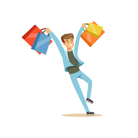 Happy young man in a casual clothes having fun with shopping bags colorful character vector Illustration