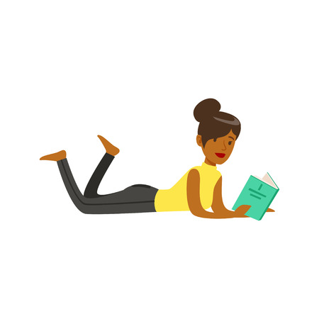Beautiful young black woman lying on the floor and reading a book vector Illustration