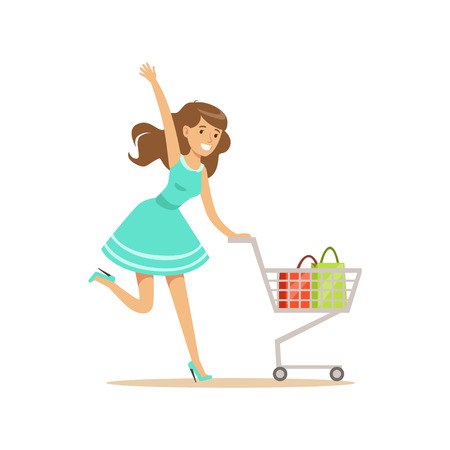 Happy woman in a blue dress running with shopping cart, shopping in grocery store, supermarket or retail shop, colorful character vector Illustration Illustration